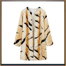 Kitten Soft Luxury Big Tiger Stripes Faux Fur with Wide Belt Long Coat Jacket  image 4