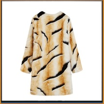 Kitten Soft Luxury Big Tiger Stripes Faux Fur with Wide Belt Long Coat Jacket  image 5