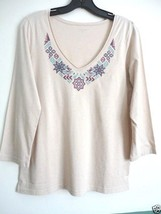 GARNET HILL M L XL Top Embroidered V-Neck 3/4 Sleeve Cotton Knit 3/4  Te... - $21.99