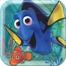 "Finding Dory Birthday Party 9"" Square Luncheon Plates 8 Ct - £3.97 GBP"
