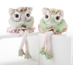 Set of 2 Collectible Owl Plush & Felt  with Dan... - $27.87