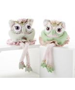 "Set of 2 Collectible Owl Plush & Felt  with Dangle Legs 14""  Pink & Purple - $21.23"