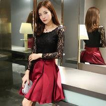Elegant Women Spring Autumn Lace Stitching Half Sleeve Bowknot Belt Mini... - $17.50