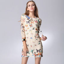 Vintage Retro Butterfly floral print long sleeve Party Evening Casual mi... - £13.15 GBP