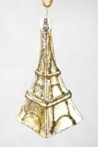 NEW! Pottery Barn Eiffel Tower Paris Blown Glass Glitter Ornament - 3.75... - $24.26