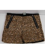 cover stitched Womens Shorts Hot Pants Large Gold Black Embellished Side... - $17.33