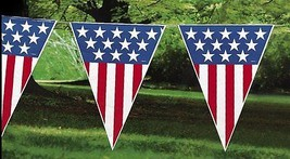 4th of July Decor Patriotic Set 12ft. American Flag Bunting Glasses - £14.98 GBP