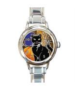 BLACK KITTY CAT & PUMPKINS FALL AUTUMN CHARM WATCH NEW! - $23.99