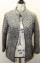Zara Knit Women Open Wool Jacket Blazer Gray  Silver W Chain Metal Accent Medium - $46.55