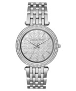 BRAND NEW MICHAEL KORS MK3404 DARCI SILVER PAVE CASE PATTERNED MIRROR DIAL WATCH - $118.65