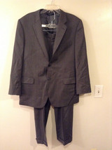 Jos A Bank Men's L Wool Blazer & Pants Suit Set Charcoal Gray Herringbone Tweed