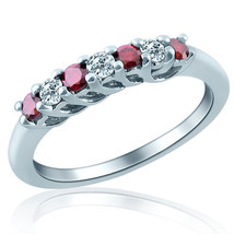Red Diamond Wedding Anniversary Band 14k White Gold 7 Stone 0.40 Carat - £348.85 GBP