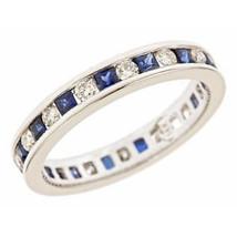 1.20ct Round Diamond Princess Sapphire Eternity Wedding Anniversary Band size4.5 - $840.66