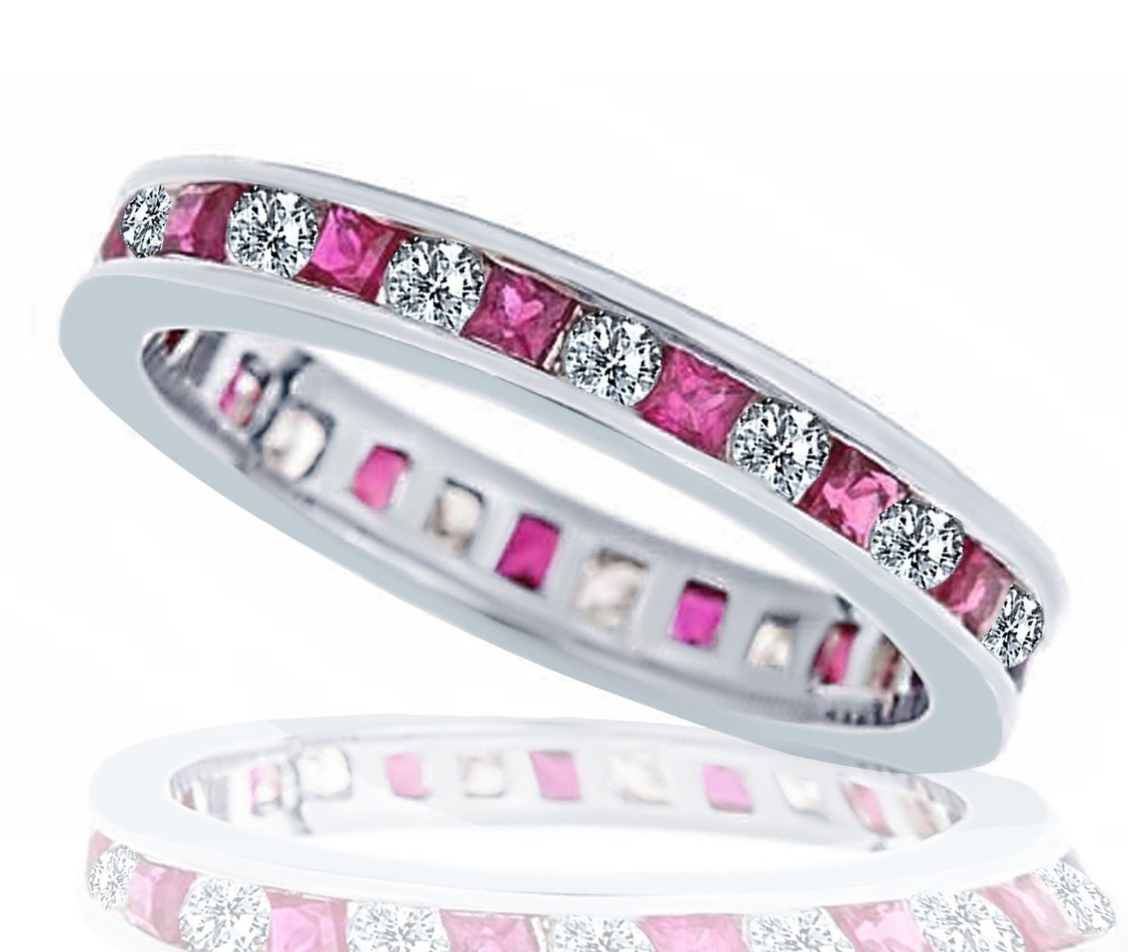 Primary image for 1.30ct Womens Diamond Ruby Eternity Wedding Anniversary Band Ring 14k White Gold