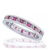 1.30ct Womens Diamond Ruby Eternity Wedding Anniversary Band Ring 14k Wh... - £775.69 GBP