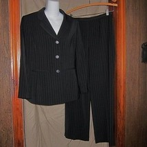 NWOT Collections by LeSuit Black with White Pinstripe Pant Suit Size 8P - $27.71