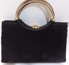 Vintage HL Harry Levine Black Evening Bag Gold Handle Rhinestone Change ... - $21.29