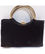 Vintage HL Harry Levine Black Evening Bag Gold Handle Rhinestone Change ... - $21.29