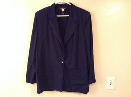 Sag Harbor Women's Size 14 Dark Blue Blazer Minimal Look Lightweight Rayon Blend
