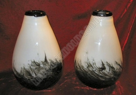 2 New Black & White Fortunoff Vase Art Glass Vases - $39.99