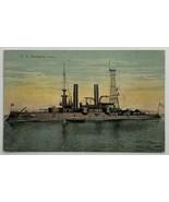 Old Linen Era Postcard U.S. Battleship Iowa BB-61 WWII Valentine Souveni... - $14.65