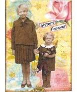 ACEO ATC Art Card Women Ladies Girls Children Sisters Forever Pink Flower - $2.75
