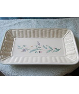 Pfaltzgraff Basketweave Serving Tray Dish With Flowers  - $12.99