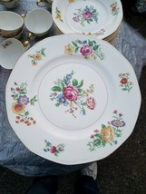 """Theodore Haviland Ny, """"Glendale"""" 10 1/4 Dinner PLATES(4),FLORAL W/GOLD - $29.65"""