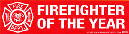 """Firefighter Of The Year - Large Red Vinyl Firefighter Decal - 3"""" X 11 1/2"""" - $1.49"""