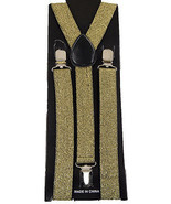 "Unisex Clip-on Braces Elastic ""Gold Glitter"" Suspender - $3.95"