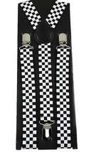 Unisex Clip-on Braces Elastic W/B Checker Suspender #1 - $2.96