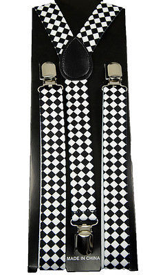 "Primary image for Unisex Clip-on Braces Elastic ""White Diamond Checker"" Y-back Suspender"