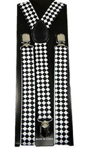 "Unisex Clip-on Braces Elastic ""White Diamond Checker"" Y-back Suspender - $2.96"