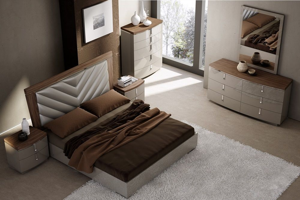 J&M Napa King Size Bedroom Set Chic Modern 2 Night Stands