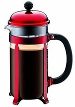 Red French Press Coffee Maker No Electricity Needed Stainless Steel Plun... - $48.50