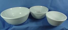 Set of 3 Nesting Mixing Bowls White Milk Glass - $56.09