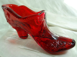 Bow Slipper Ruby Red Glass Shoe by Mosser - $18.69