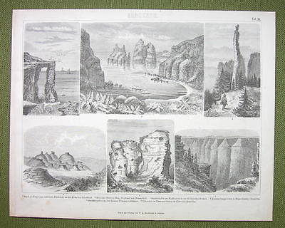 GEOLOGY Rock Formations Scotland Colorado N. Zealand - 1870s Print Engraving