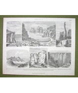 GEOLOGY Rock Formations Scotland Colorado N. Zealand - 1870s Print Engra... - $23.76