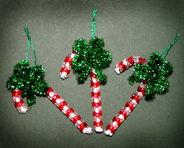 Handcrafted Beaded Candy Cane Christmas Ornaments - $8.50