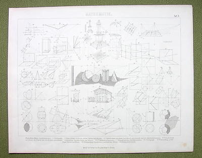 GEOMETRY Projections Shadows Perspective Isometry - 1870s Print Engraving