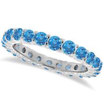 1CT Blue Topaz Eternity Ring 14K White Gold - $594.96+