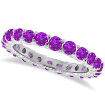 1CT Purple Amethyst Eternity Ring 14K White Gold - £312.95 GBP+