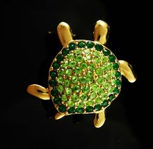 Rhinestone Monet Turtle Brooch Sea creature Vintage Figural Green Whimsi... - $25.00