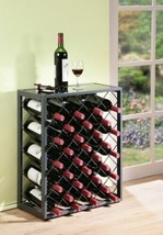 Pewter Finish Metal Wine Rack Holds 32 Bottles Glass Table Top Display S... - $99.89