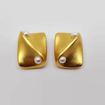 Vintage Clara Studios Matte Gold Tone Faux Pearl Clip Earrings  - $31.04