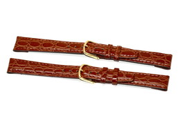 2 Piece Timex 14MM Brown Croco Stitched CLIK-ON Genuine Leather Watch Band Strap - $6.92