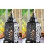 2 BLACK MOROCCAN TOWER Candle Lanterns Intricate Metal Panels - $27.00