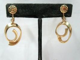 Screw Back Dangle Hoop Earrings Flower Swirl Conservative 1960'S Vintage - $14.00
