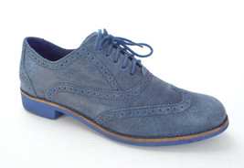 COLE HAAN Size 10 ALISA Blue Hammered Suede Lace Oxfords Shoes - $55.00